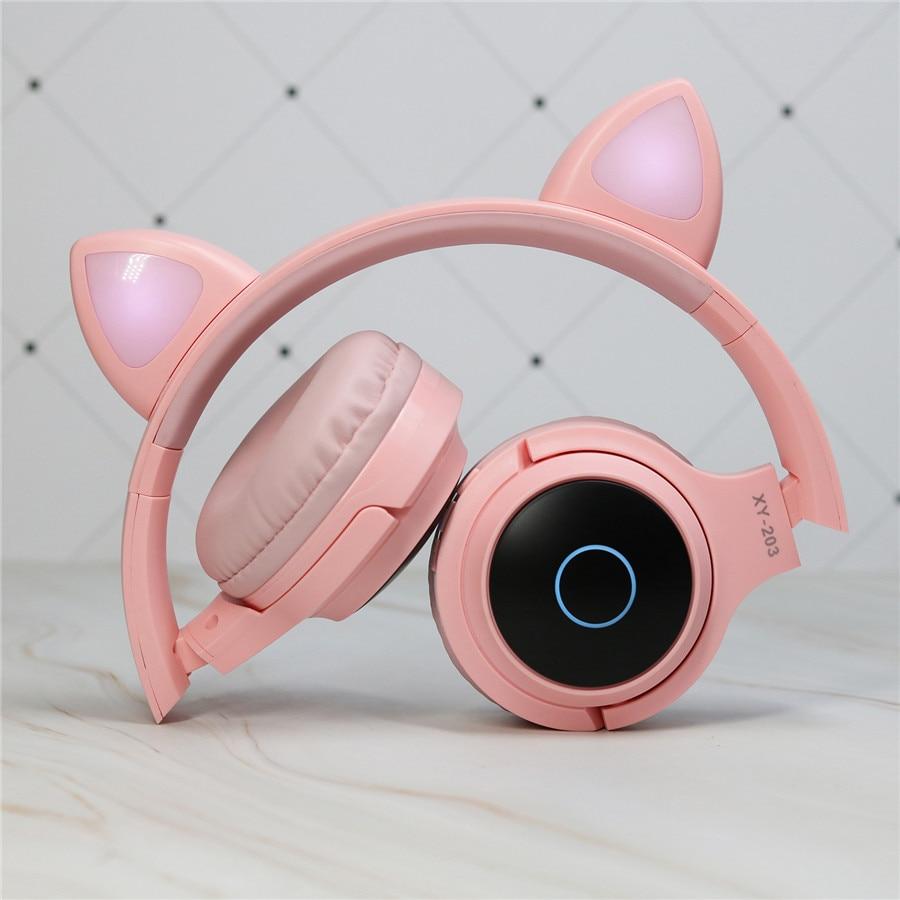 سماعة رأس استريو لطيفة على شكل قطة للأطفال ، سماعة رأس لاسلكية مع ضوء LED ، وردي فاتح ، بدون استخدام اليدين ، مع ميكروفون