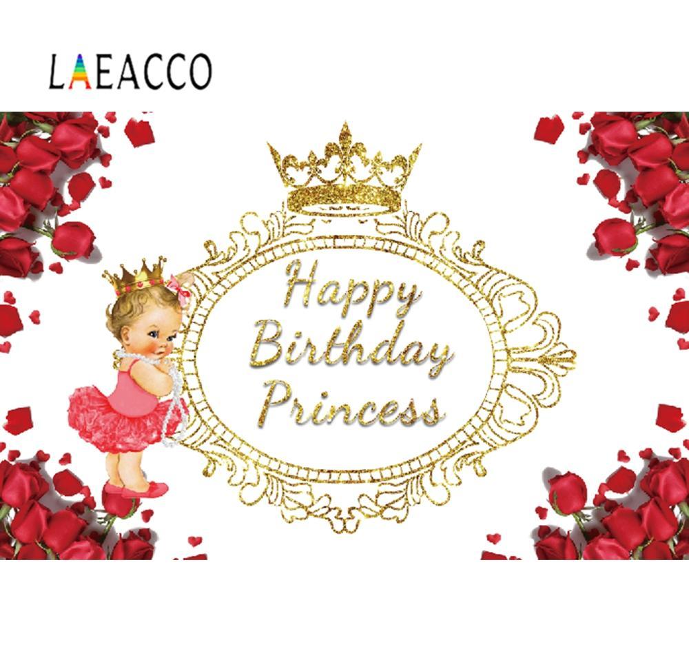 Fondo de fotografía flor pétalos de rosa corona dorada FIESTA DE Feliz cumpleaños Banner personalizado fondo de fotografía estudio de fotografía