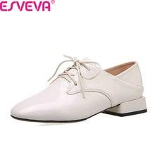 ESVEVA 2020 Square Low Heel Comfort Women Shoes PU Leather Lace Up Women Pumps Square Toe Spring Autumn Single Shoes Size 34-43