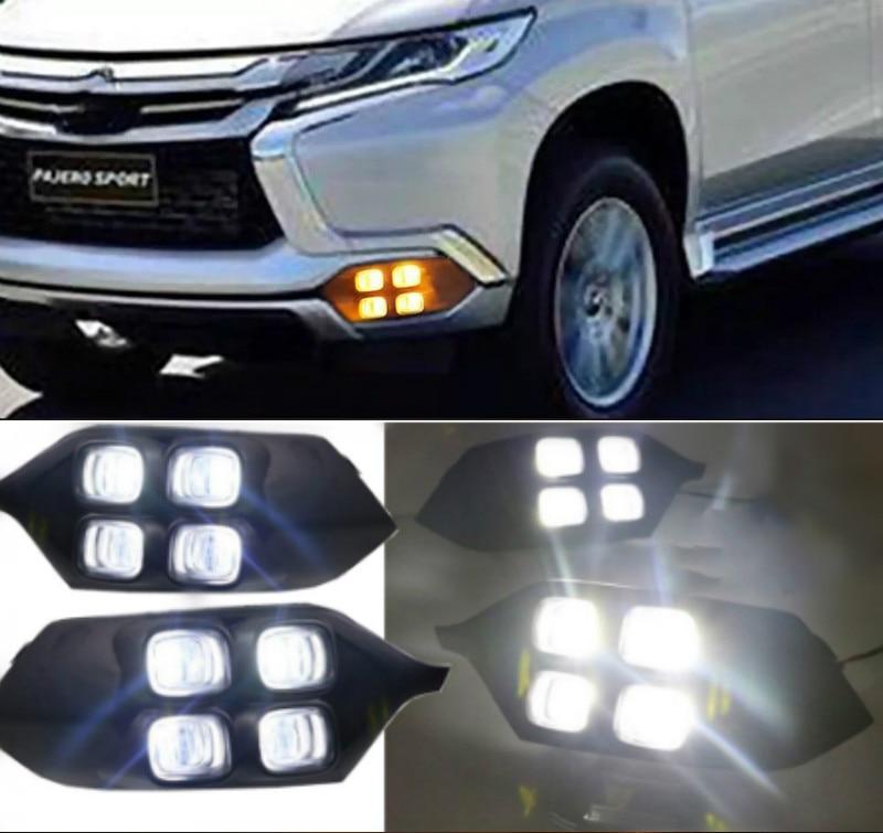 4 ojos superbrillo accesorios de coche ABS 12V luz LED de conducción diurna DRL lámpara para Mitsubishi Pajero Sport 2016 2017