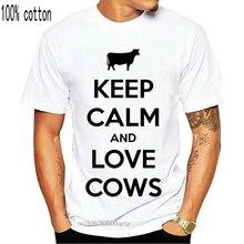 Coton t-shirt mode t-shirt garder calme et amour vaches adulte t-shirt t-shirt 011864