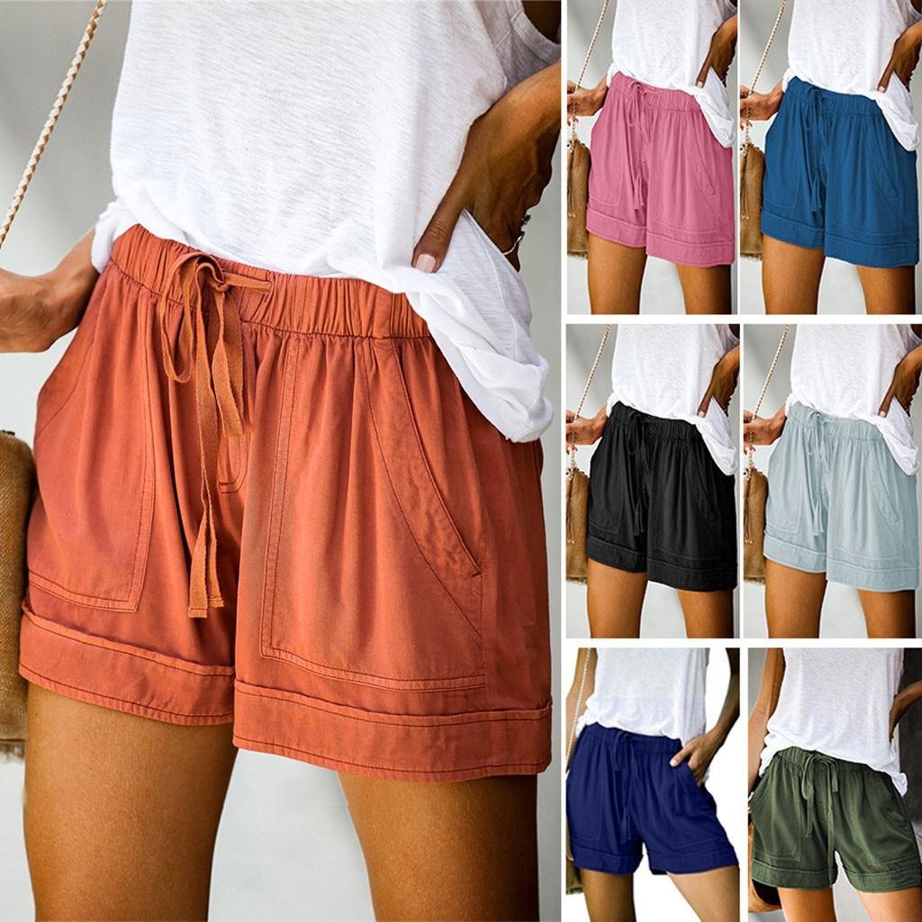 2020 mujeres pantalones cortos cómodos lazo empalme Casual cintura elástica se embolsó...