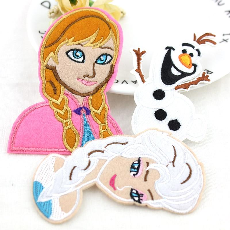 Dos desenhos animados anna elsa olaf bordado remendo roupas ferro em remendos para vestuário emblemas adesivos apliques vestuário atacado