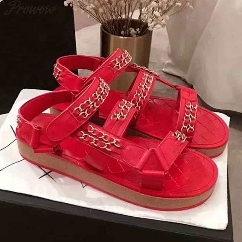 Prowow  Sandals Desginer Woman Summer Shoes Beach Holiday Platform Flat Casual Shoes Women Leather Shoes  Fashion Backle