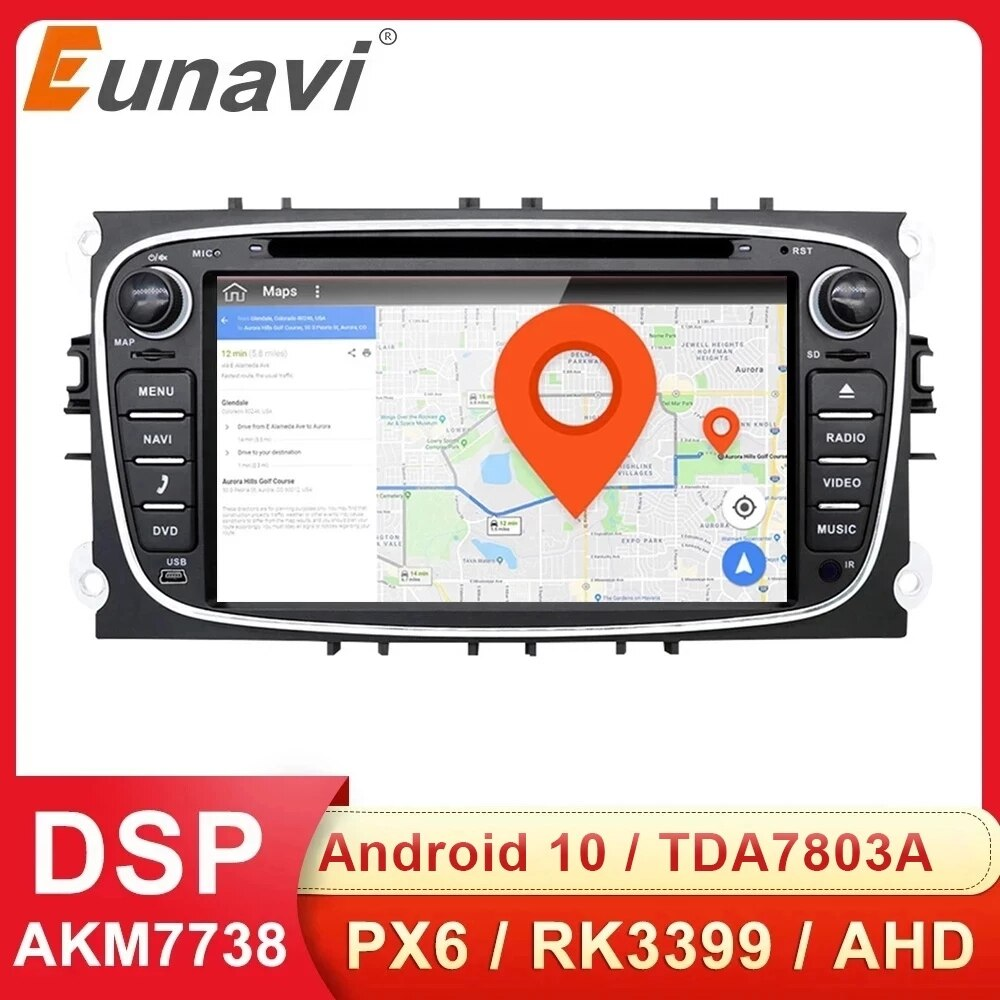 Eunavi 2 الدين الروبوت 10 سيارة DVD راديو الوسائط المتعددة GPS السيارات لفورد التركيز مونديو S-MAX C-MAX غالاكسي 4G 64GB DSP و Headunit DSP