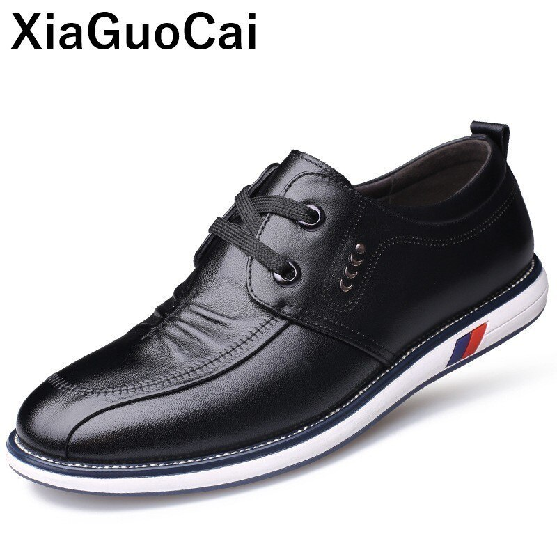 Spring Autumn Men Casual Shoes Genuine Leather Male Flats British Luxury Lace Up Mans Footwear High