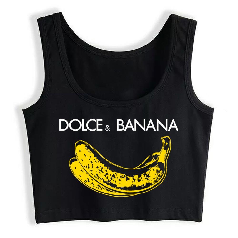 Top mujer Banana Dolce ajuste Harajuku camisetas sin mangas de las mujeres
