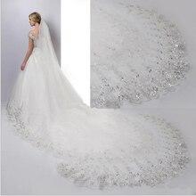 Bruiloft sluier Wit Ivoor Kathedraal Bruiloft Sluiers Lange Lace Edge Bridal Veil met Kam Bruiloft Accessoires Bruid Veu