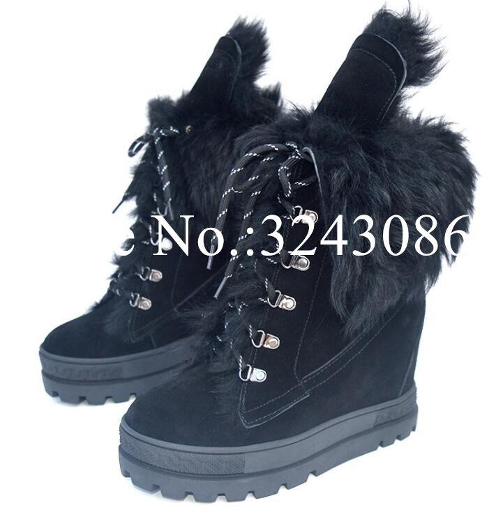 الشتاء الفراء امرأة الثلوج الأحذية موضة الأسود 8 سنتيمتر Incresing إسفين كعب حذاء من الجلد سيدة مريحة منصة أحذية كاجوال دروبشيب