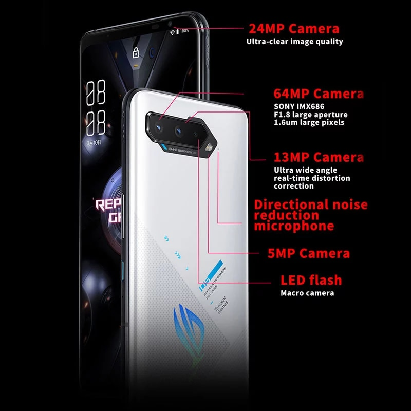 ASUS ROG Phone 5 | 5 Pro 5G Smartphone Snapdragon888 Android11 6000mAh Fast charging 65W ROG5 Professional Gaming Phone
