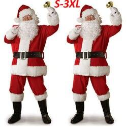 Fantasia masculina adulta, 5 peças fantasia papai noel para homens, roupa de festa de natal, vestido plus size S-3XL