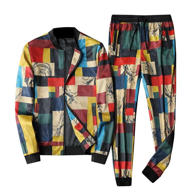 Punto Plaid impresión hombre chándales 2019 Abbigliamento Uomo 2 piezas conjunto Dresy Meskie Esofman Takımı de lujo de la moda Chándal para hombre