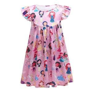 Flare Sleeve Girls Cartoon Dress Summer Girl Princess Dresses Unicorn Printing Kids Casual Holiday Clothing School Wear Vestidos