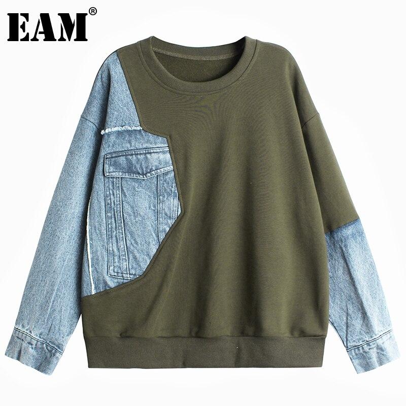[EAM] Lose Fit Denim Unregelmäßigen Stich Sweatshirt Neue Rundhals Langarm Frauen Große Größe Mode Frühling Herbst 2021 1DD2602