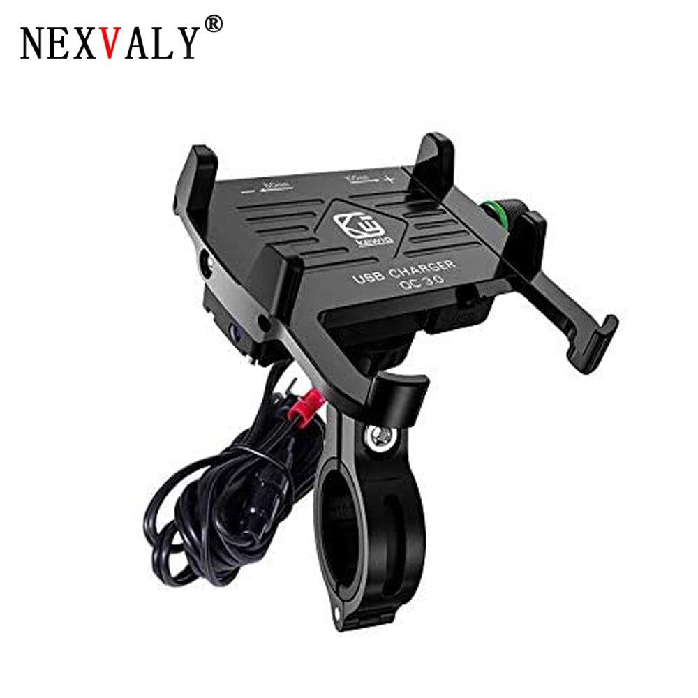 NEXVALY Aluminum Phone Mount USB Charger Quick Charge 3.0 Motorcycle Phone Holder GPS Navigation Bracket Universal