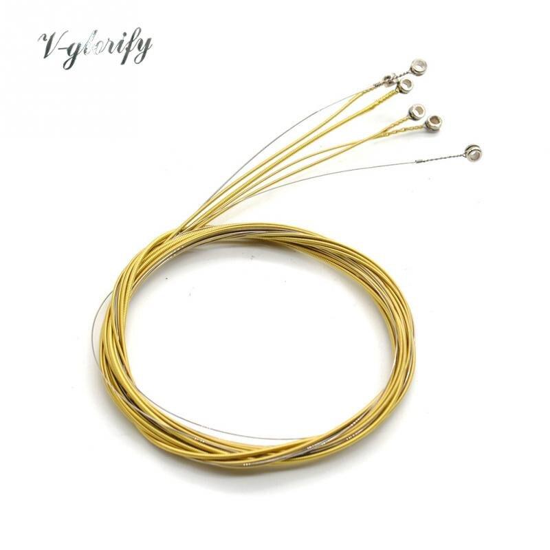 good quality guitar 6 pcs/set steel strings gauge Set wooden guitar strings E-A brass Color