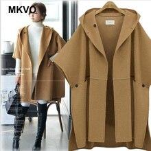 Autumn and winter bat sleeve cloak woolen coat women's solid color  loose hooded poncho feminino inverno cape coat plus size