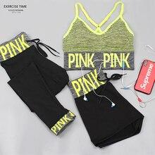 3Pcs/Lot Yoga Set Women Fitness Clothing Sportswear Woman Gym Leggings Padded Push-up Strappy Sports Bra Fashion Sports Suits