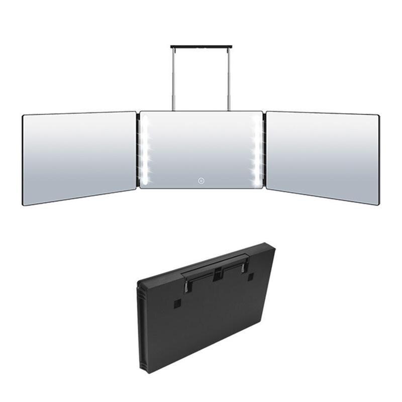 قابل للسحب معلقة ثلاثة جوانب مرآة قابلة للطي مرآة المكياج المزودة بمصباح ليد مع ضوء لتقوم بها بنفسك تصفيف الشعر مرآة قابل للتعديل ارتفاع مرآ...