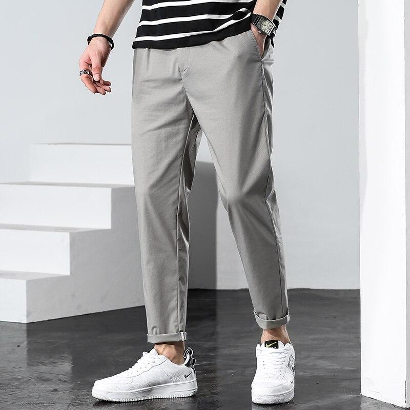 Мужские Молодежные облегающие длинные брюки 2021, летние повседневные модные мужские брюки-султанки, универсальная уличная одежда, мягкие то...