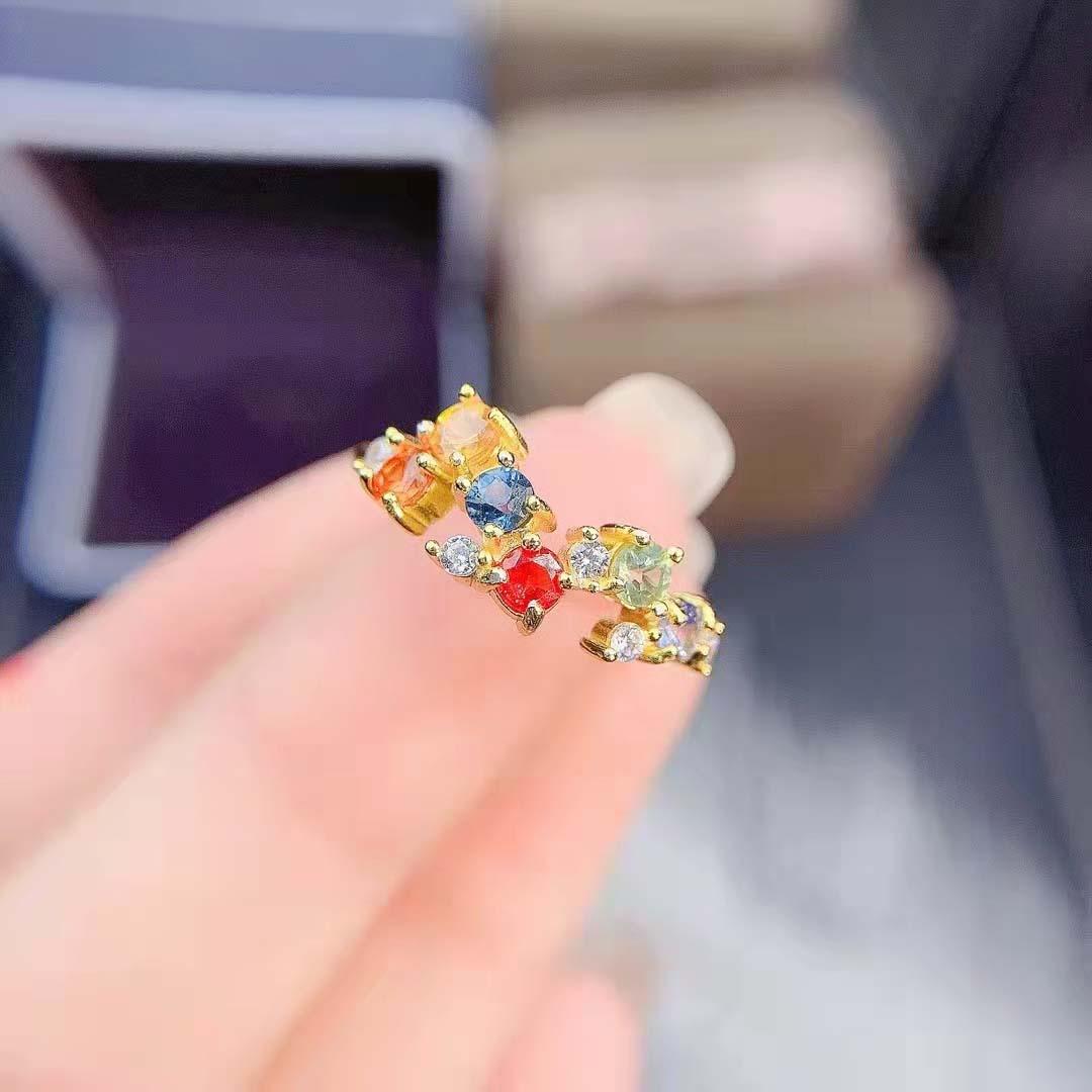 Review Fashion Colored Sapphire S925 Sterling Silver Fancy Women's Ring Fine Charming Weddings Jewelry MeiBaPJFS