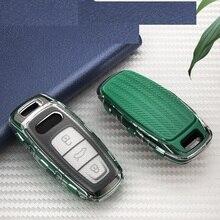 Carbon stil TPU Auto Fernbedienung schlüssel fall schlüssel Abdeckung Für Audi A6 C8 A7 A8 Q8 2018 2019 Auto Styling auto Zubehör