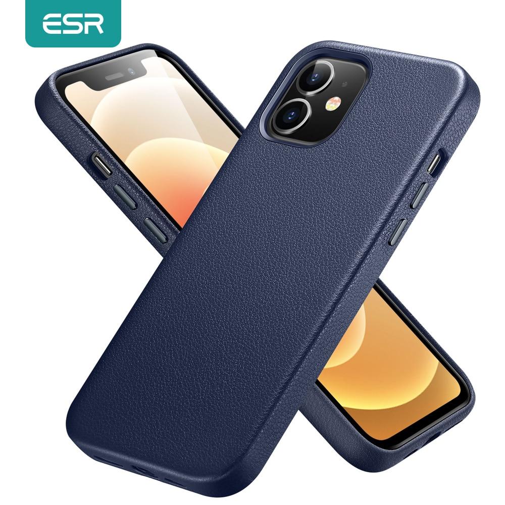 ESR ل فون 12 برو ماكس حالة جلدية غطاء ل فون 12 البسيطة 12 برو ماكس جلد طبيعي حالة ل فون 12 12Pro الفاخرة الأسود