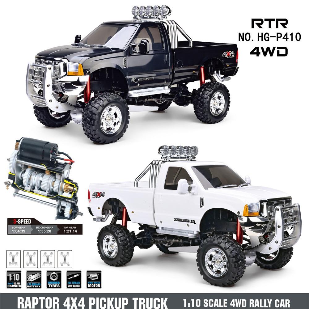 Coche a Control remoto HG P410 1/10 2,4G 4WD, camioneta, recolección de 3 velocidades, vehículos de Rally sin cargador de batería, modelo de juguete
