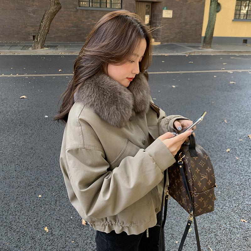 2021 شتاء جديد المرأة معطف الإناث سترة دافئة موضة الترفيه سميكة فضفاضة الصلبة عادية الحلو كل مباراة انفصال طوق