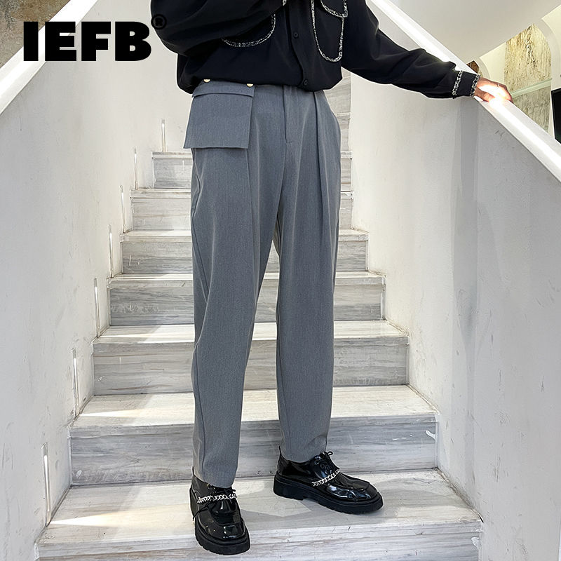 IEFB خارج المرقعة جيوب تصميم رمادي الرجال بنطلون 2021 الخريف جديد فضفاض دعوى السراويل ملابس الشارع الشهير موضة قيعان 9Y9302