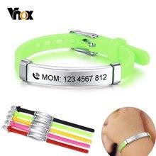 Vnox personnaliser enfants bébé ID Bracelets Silicone souple gouvernail acier inoxydable enfants filles garçons personnalisé durgence nom téléphone