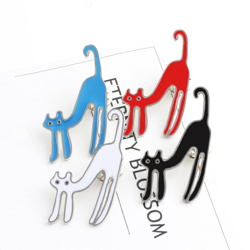 Drôle Animal broche noir rouge blanc bleu dessin animé chats émail Badge épingles sac vêtements Denim chemise épinglette bijoux cadeau pour les femmes