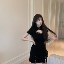 Real Shot Cost-Effective Sneaky Design Black Dress for Women