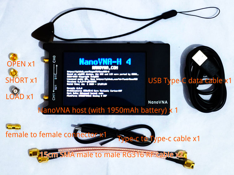 NanoVNA-H4 H, 4 pulgadas, LCD/VNA, analizador de red Vector + batería de 1950mAh, Original, pantalla táctil Hugen, Analizador de antena HF VHF UHF + caja