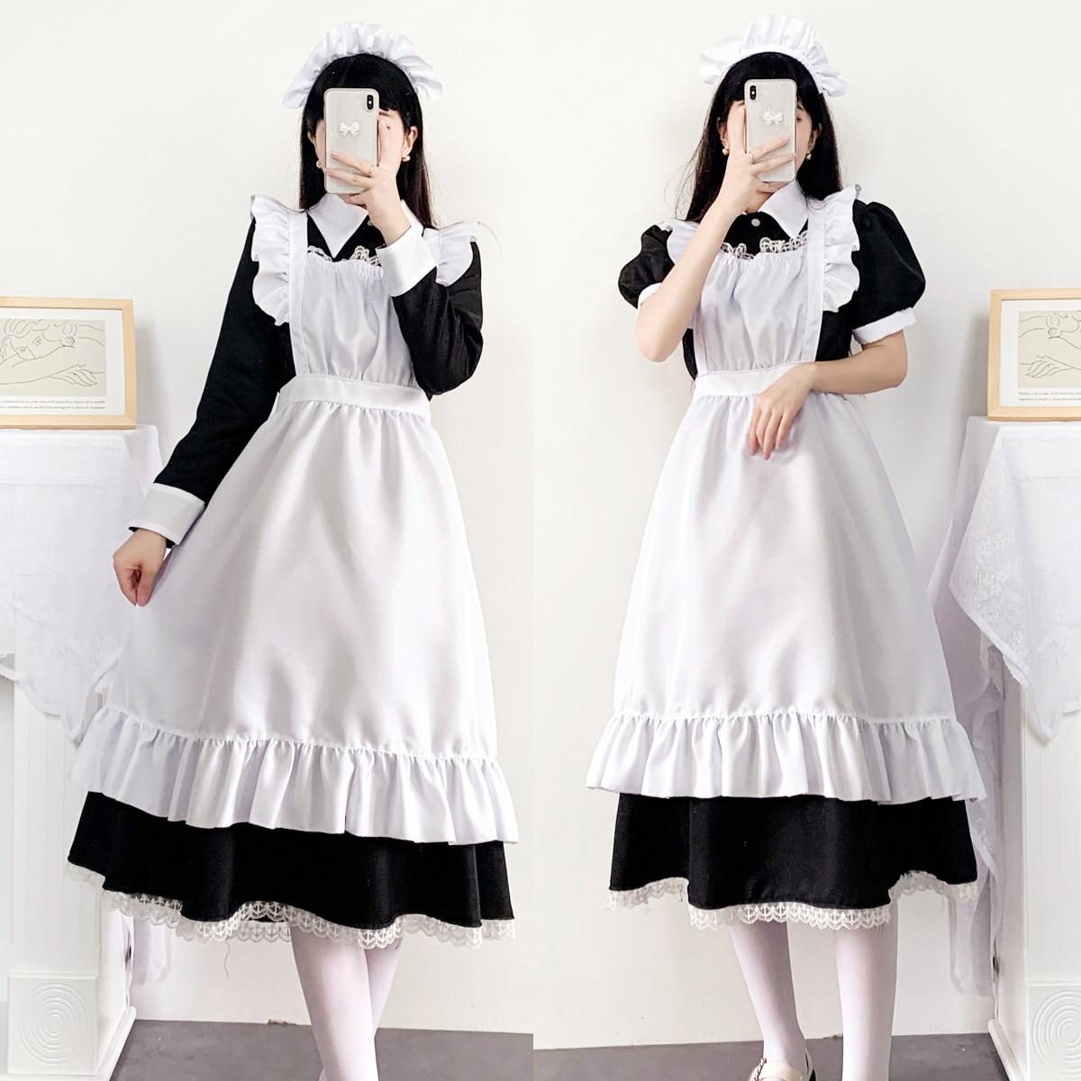 المرأة خادمة الزي طويل خادمة تأثيري حلي لوليتا فستان مع المئزر لطيف أنيمي فساتين الدانتيل مقهى موحدة الأسود M-5XL