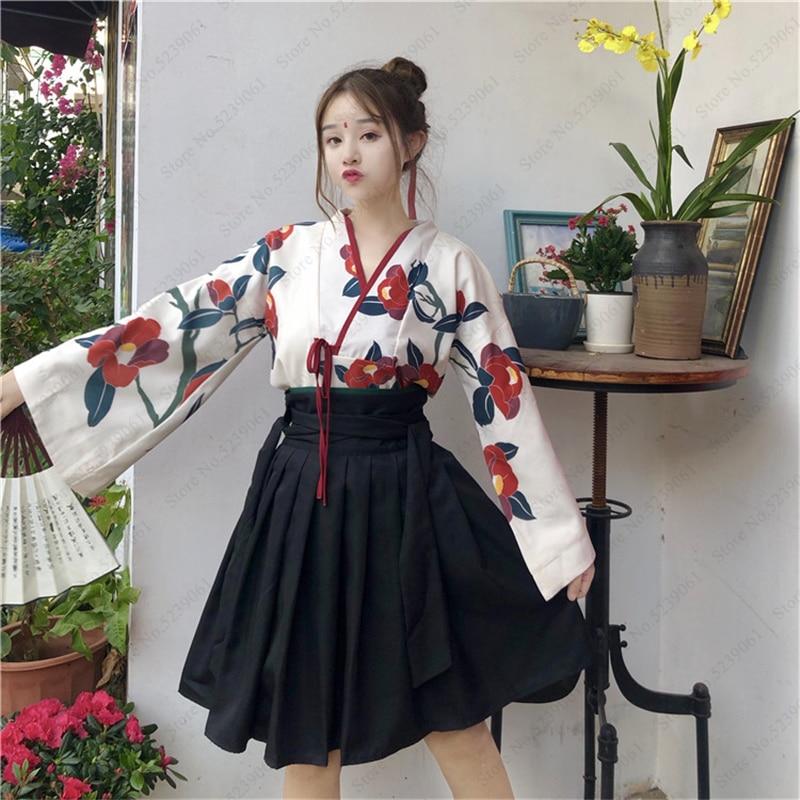 Japanischen Stil Kimono Yukata Roben Mädchen Haori Obi Langarm Party Kleider Frauen Samurai Tops Floral Gedruckt Roben Anime Rock