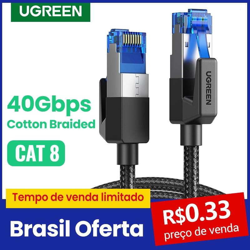 UGREEN Câble Ethernet CAT8 40Gbps 2000MHz CHAT 8 Réseaux Coton Tressé Internet Lan Cordon pour Ordinateurs Portables PS 4 Routeur RJ45 Câble