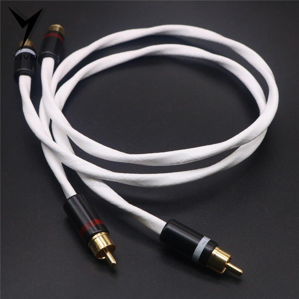 1 par RCA a RCA alta gama OFC cobre puro plateado 6mm auriculares extensión Cable Aux 2RCA a 2RCA Cable de Audio