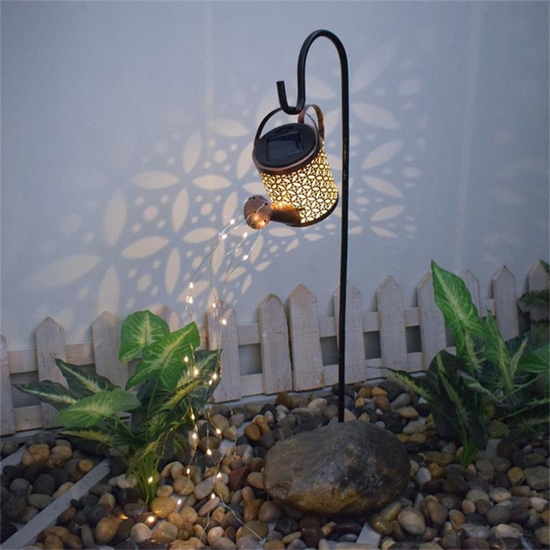 Solar LED Garden Watering Can Lamp with Lights String Fairy Garden Decoration Outdoor Gardening Ornaments Yard Decorative Lamp