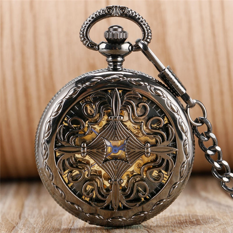 Steampunk Hollow Out Chinese Knot Mens Womens Auto Mechanical Pocket Watches Roman Numeral Dial Pendant Chain Relgio de bolso