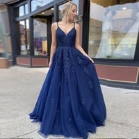 navy blue evening dresses spaghetti strap appliques lace a line tulle lace up back long prom party gown for graduation dress