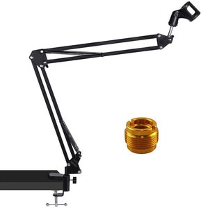 Microphone Stand- Desk Adjustable Microphone Boom Arm Made of Durable Steel for Blue Yeti Snowball, Shure, and Other Microphones