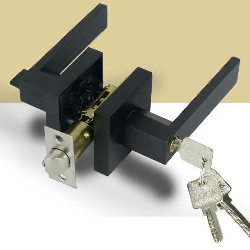 مقبض الباب مقبض الباب قفل مربع قناة الخصوصية قناع الداخلية غرفة نوم الحمام ثلاثة بار كروية قفل-أسود