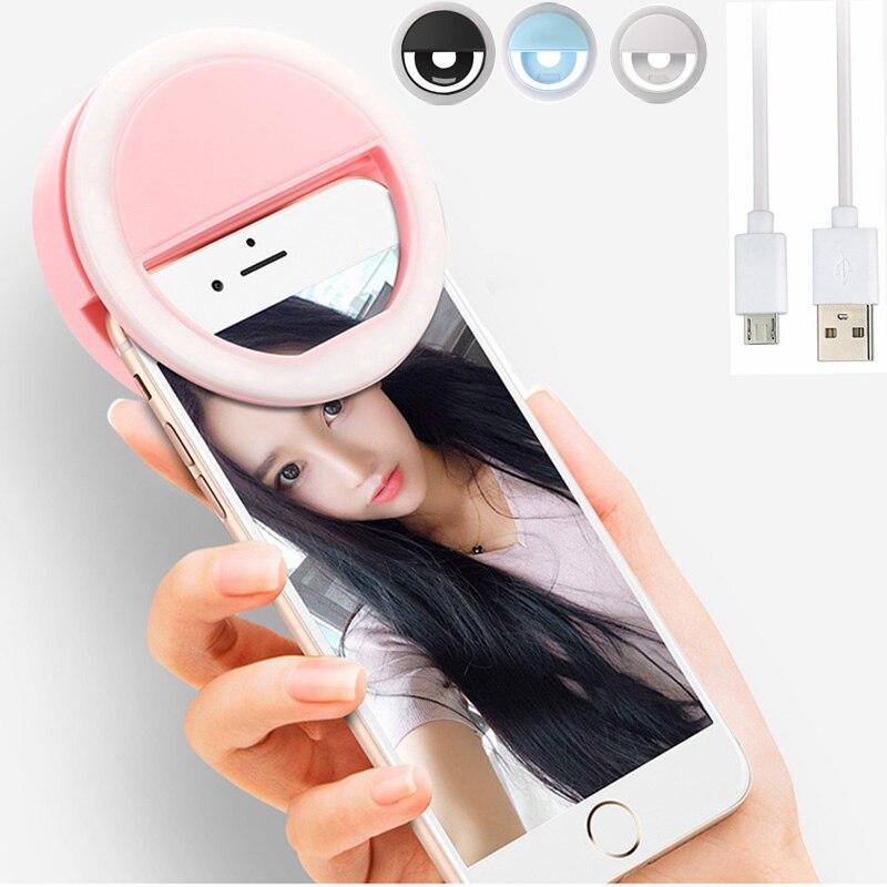 Anillo para teléfono móvil LED recargable, Flash tipo Aro para selfies, lente de 3 niveles de brillo, luz de relleno, Clip para luz para teléfono inteligente de 3,3 pulgadas