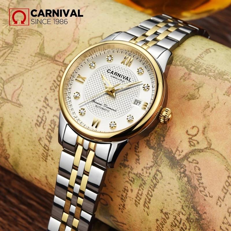 CARNIVAL Brand Ladies Fashion Gold Automatic Watch Women Waterproof Luxury Luminous Mechanical Wristwatch Clock Relogio Feminino enlarge