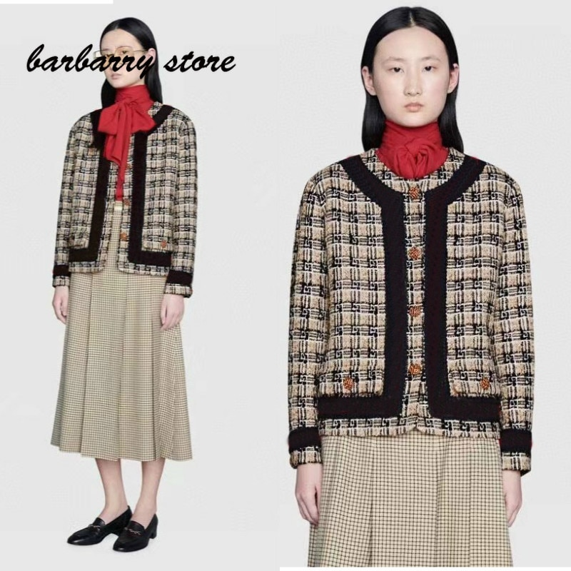 2021 luxury design high-end tweed fashion women's long sleeved cardigan contrast knitting temperament versatile round neck coat