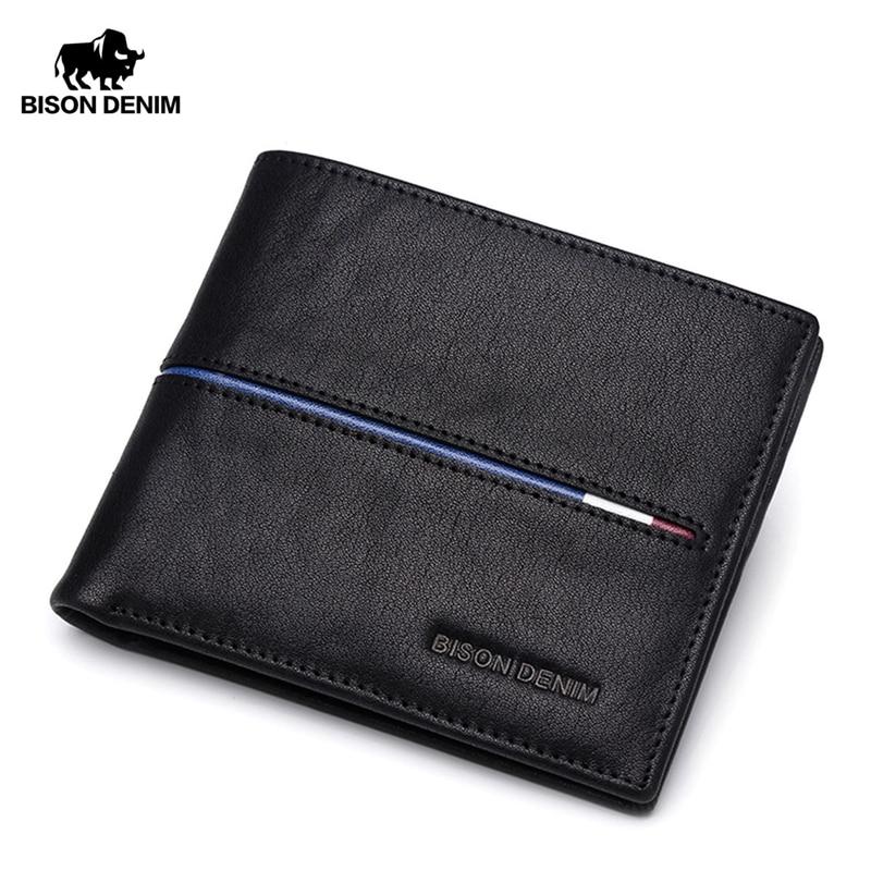 Bifold carteira masculina carteira de couro genuíno marca moda curta bolsa de moedas id titular do cartão de crédito carteira fina