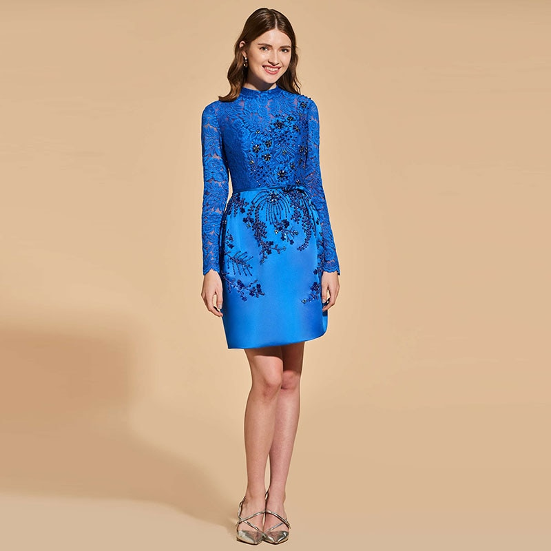 Tanpell Elegant Cocktail Dress Scoop Neck Long Sleeves Beading Button Short Woman Party Gown Lace Sheath Cocktail Dress фото