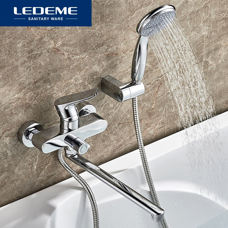 LEDEME حوض صنبور مجموعة للحمام منفذ الأنابيب الكروم مطلي حمام الحنفيات سطح النحاس حوض الحنفيات دش رئيس L2234
