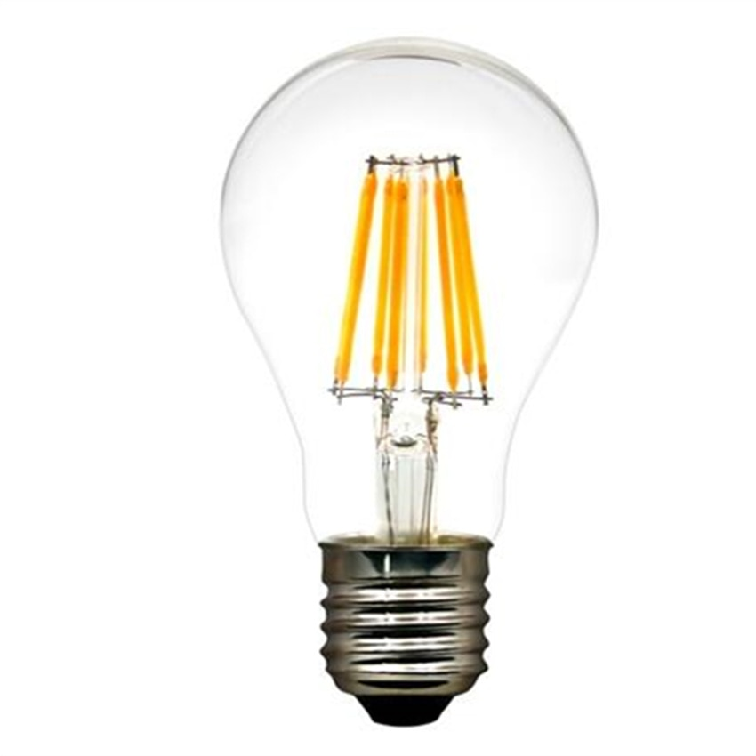 free shipping Amber Frosted Glass Cover Light Bulb CE ROHS A60 6W E27 led filament bulb